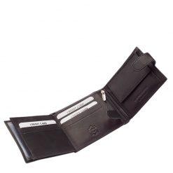 Kellemes tapintású valódi bőr termék, Tesselo márkás férfi pénztárca elegáns megjelenésben, mely klasszikus fekete színben készült.