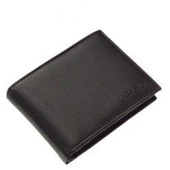 Valódi bőr felhasználásával gyártott fekete színű elegáns férfi pénztárca a Tesselo márkacsaládtól. Farzsebben is kényelmesen hordható.
