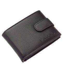 Fekete színű férfi pénztárca elegáns kivitelben, melynek anyaga valódi bőr, Tesselo márkajelzéssel fedelén. Kisebb méretű minőségi termék.