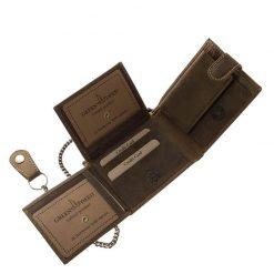Rusztikus hatású, minőségi valódi bőr felhasználásával készített barna színű bőr pénztárca motoros mintával a GreenDeed márkacsaládtól.