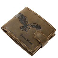 Minőségi valódi marha bőr felhasználásával gyártott férfi pénztárca barna színben, melynek felületén egy sas benyomott mintája látható.
