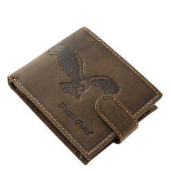 Természetes kikészítésű, minőségi barna színű valódi bőr felhasználásával gyártott férfi pénztárca sas mintával fedelén. Díszdobozos termék.