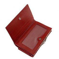 Fényes valódi bőrből készült, divatos női bőr pénztárca piros színben elegáns vonalvezetéssel, mely látványra és tapintásra is kellemes.
