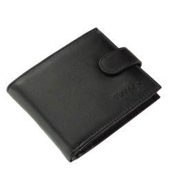 Divatos külsejű férfi pénztárca minőségi valódi bőr felhasználásával készítve fekete színben, fedelén az elegáns Tesselo márkajelzés látható.