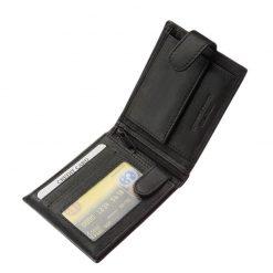 Tesselo márkás, jól kihasználható belső kialakítással tervezett puha tapintású, minőségi valódi bőr férfi pénztárca divatos fekete színben.