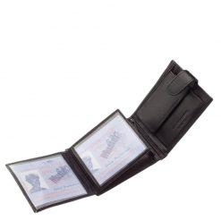 Nagyon jól kihasználható, kiváló minőségű és egyben klasszikus fazonú Tesselo márkájú elegáns fekete színű valódi bőr férfi pénztárca.