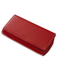 Valódi bőr felhasználásával készült nagy méretű női pénztárca, praktikus kialakítással a Tesselo Luxury márkacsaládtól piros színben.