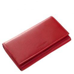 Praktikus patenttal záródó, teljes fedeles piros színű, brifkó jellegű nagy méretű női bőr pénztárca a Tesselo márkacsaládtól.