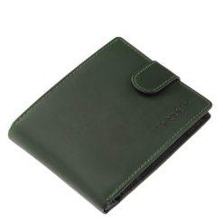 Klasszikus külső átkapcsoló pánttal ellátott, természetes bőr férfi pénztárca modell, mely hagyományos belsővel és zöld külsővel készült.