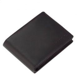 Minőségi férfi pénztárca valódi bőr felhasználásával gyártva igényes fekete színben, klasszikus kialakítással. Átkapcsolófül nélkül készült.