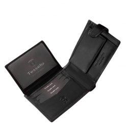Elegáns kivitelű fekete színű minőségi bőr férfi pénztárcaTesselo márkanévvel fedelén, külső átkapcsoló pánttal készült díszdobozos modell.