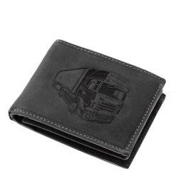 Különleges külsővel tervezett GreenDeed márkájú minőségi bőr férfi pénztárca kamion mintás benyomattal fedelén fekete színben.